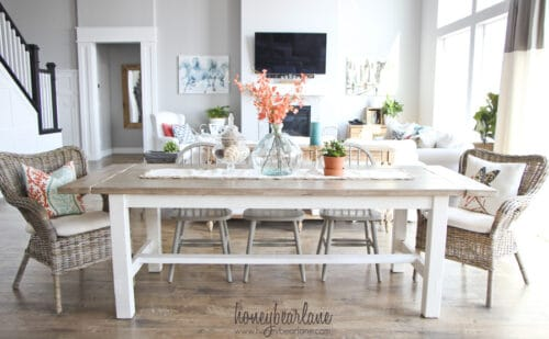 farmhouse kitchen table white with wood accents