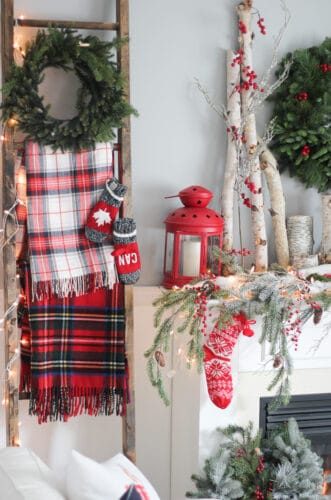 red plaid christmas decor