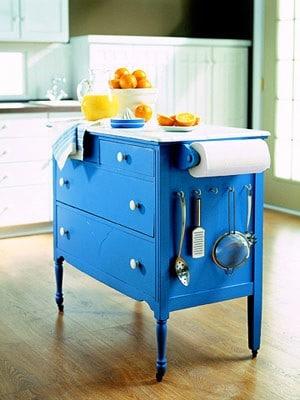 blue kitchen island diy